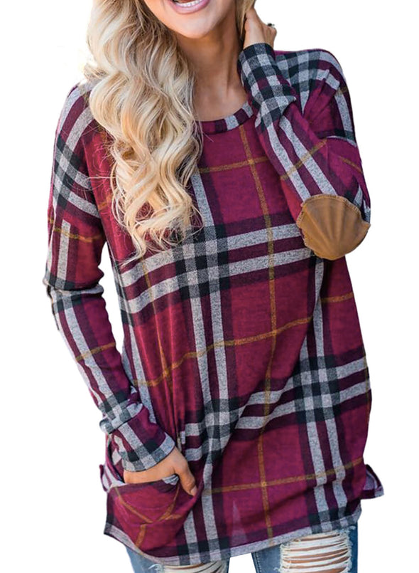 Rose Red Suede Elbow Patch Plaid Sweatshirt LC2513107-6
