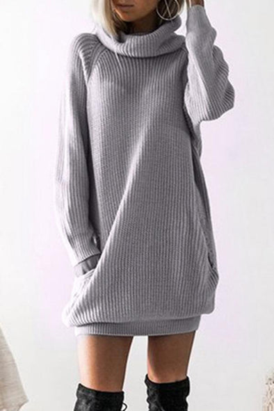 Gray Long Sleeves Solid Pockets Cowl Neck Sweater Dress LC273111-11