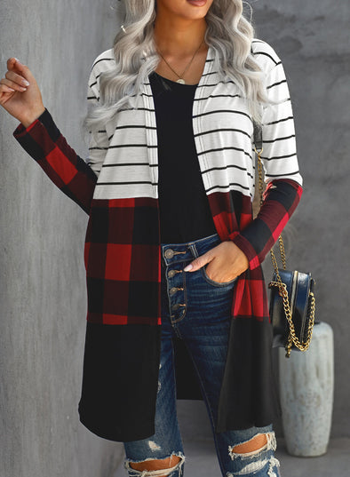 White Women's Cardigans Chirstmas Striped Plaid Color Block V Neck Cardigans LC254155-1