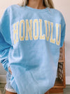 Blue Round Neck Long Sleeve Blue Sweatshirt LC2514880-5