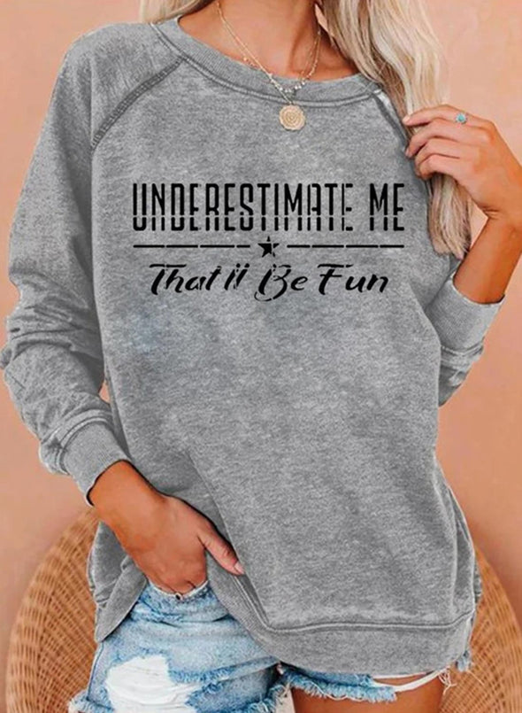 Gray Women's Sweatshirts Round Neck Long Sleeve Solid Sweatshirts LC2535839-11