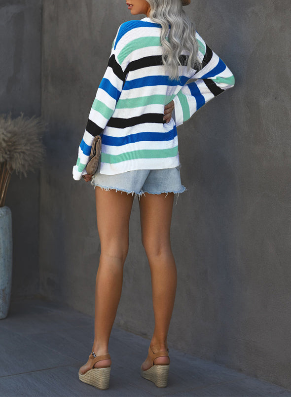 Sky Blue Loose Long Sleeve Striped Sweater LC272391-4