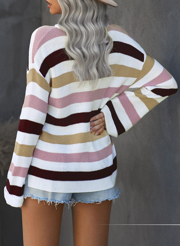 Pink Loose Long Sleeve Striped Sweater LC272391-10