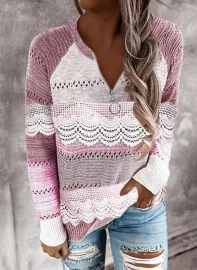 Rose V-Neckline Color Block Casual Regular Zipper Sweaters LC2721035-6