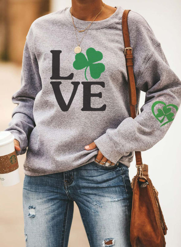 Gray Women's Sweatshirts Four-leaf-clover Letter Print Long Sleeve Round Neck Sweatshirt LC2514941-11