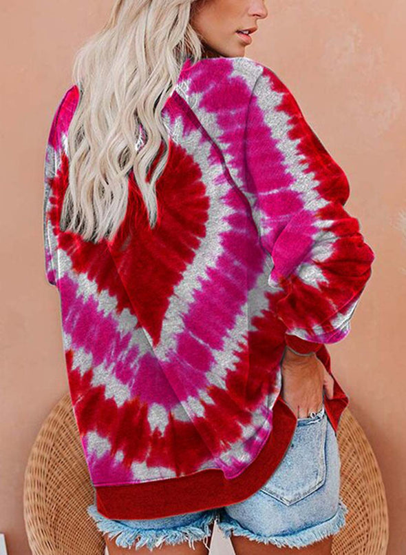 Red Women's Sweatshirts Love Print Color Block Long Sleeve Round Neck Sweatshirt LC2535931-3