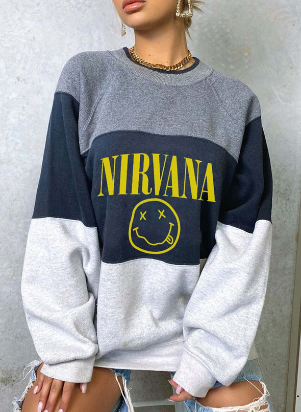 Blue Women's Sweatshirts Color-block Letter Print Long Sleeve Round Neck Loose Sweatshirt LC2535940-5