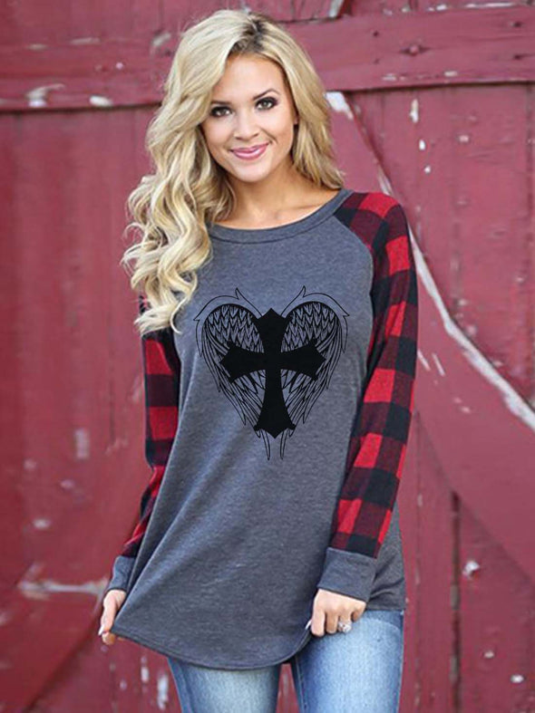 Gray Women's Christian Cross Angel Wings Check Print Top LC2515006-11