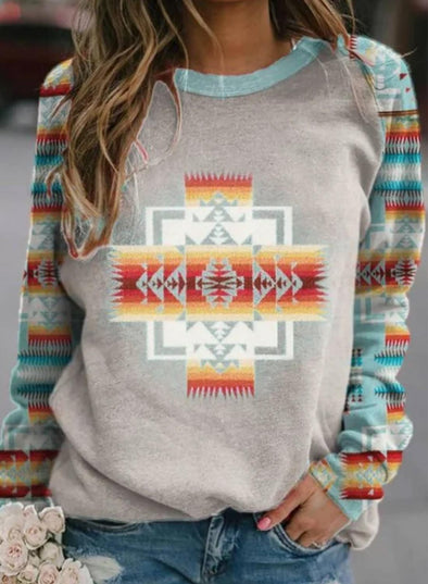 Gray Women's T-shirts Colorblock Geometric Print Long Sleeve Round Neck T-shirt LC2515001-11