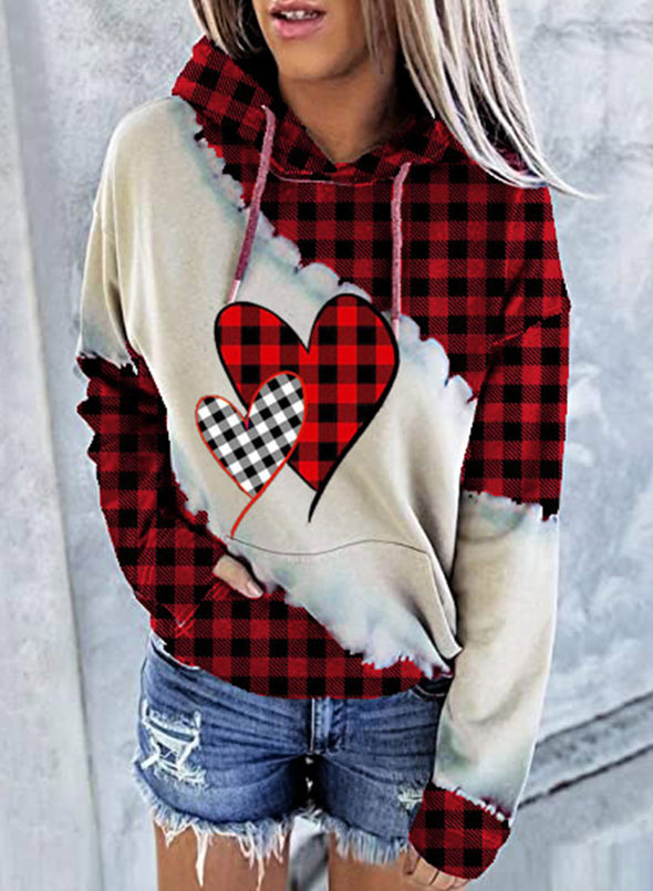Red Women's Hoodies Drawstring Long Sleeve Plaid Hoodies With Pockets LC2536045-3