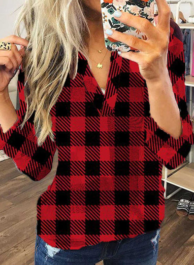 Red Women's Blouses Plaid Christmas Long Sleeve V Neck Blouse LC2515035-3