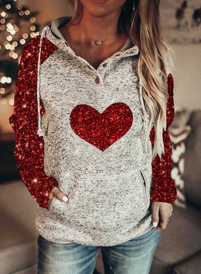 Red Women's Hoodies Sequins Heart-shaped Long Sleeve Hoodie LC2536074-3