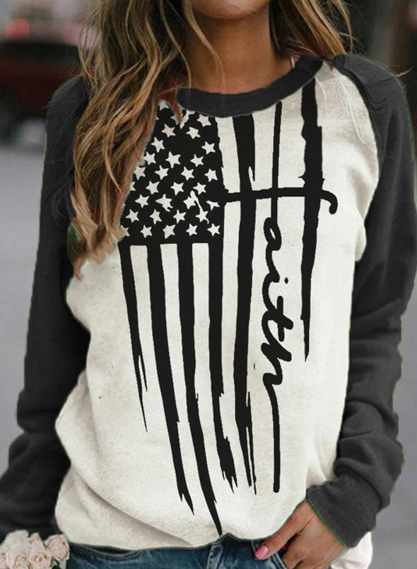 Black Women's Sweatshirts Flag Print Color Block Long Sleeve Round Neck Spring Autumn Winter Casual Sweatshirt LC2536123-2