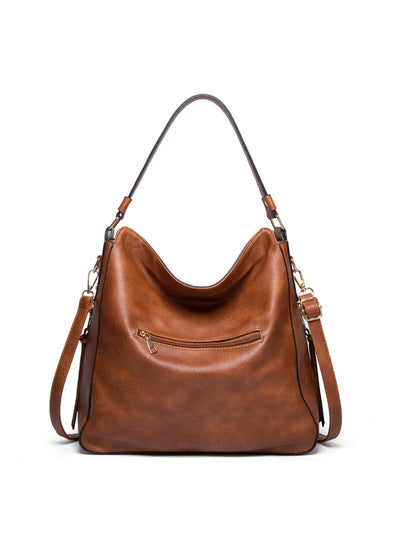 Brown Women's Bags Large Capacity Soft Pu Leather One-shoulder Messenger Crescent Bag LC003053-17