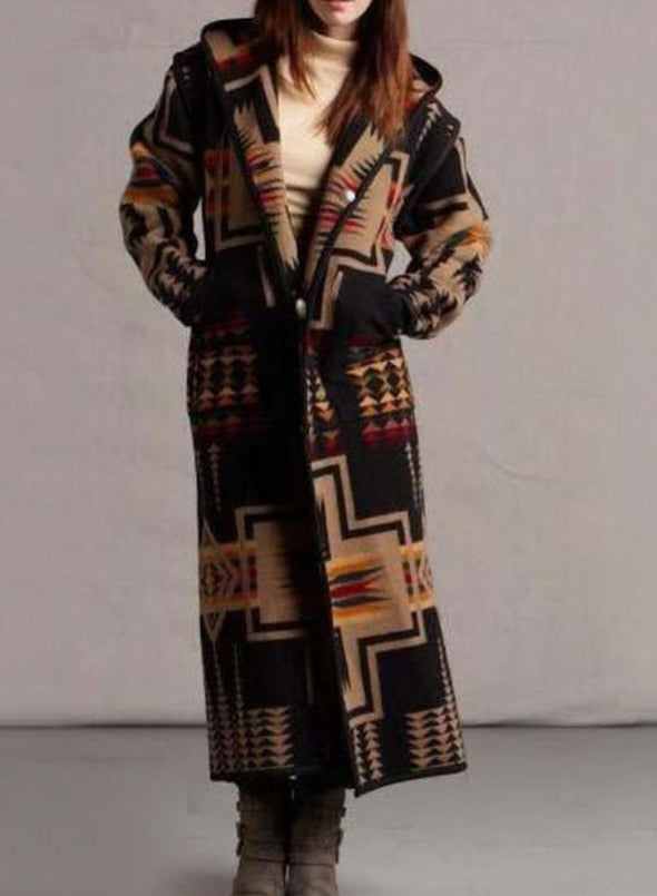 Black Women's Coats Color Block Tribal Long Sleeve Hooded Casual Buttons Maxi Coat LC8511246-2