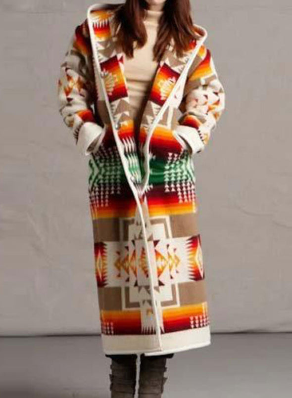 Yellow Women's Coats Color Block Tribal Long Sleeve Hooded Casual Buttons Maxi Coat LC8511246-7