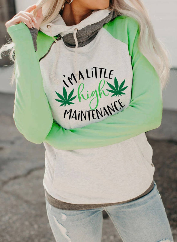 Green Women's Hoodies Drawstring High Neck Long Sleeve Color Block Letter Casual Hoodies LC2536212-9