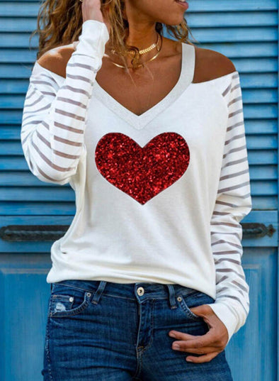 White Women's Sweatshirts V Neck Long Sleeve Sweatheart Striped Casual Sweatshirts LC2515259-1