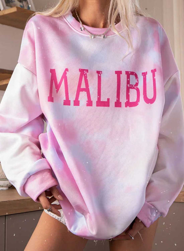 Pink Women's Sweatshirts Loose Letter Color Block Tiedye Long Sleeve Round Neck Casual Sweatshirt LC2536299-10