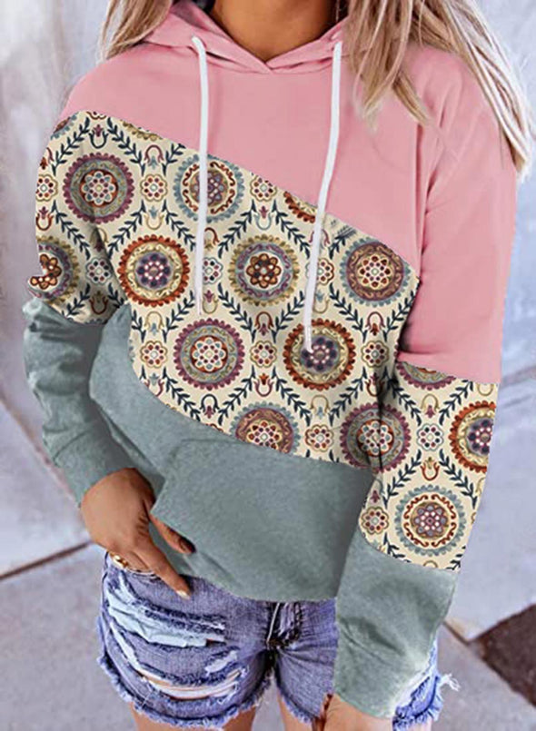 Multicolor Women's Hoodies Floral Color Block Long Sleeve Pocket Casual Hoodie LC2536289-22