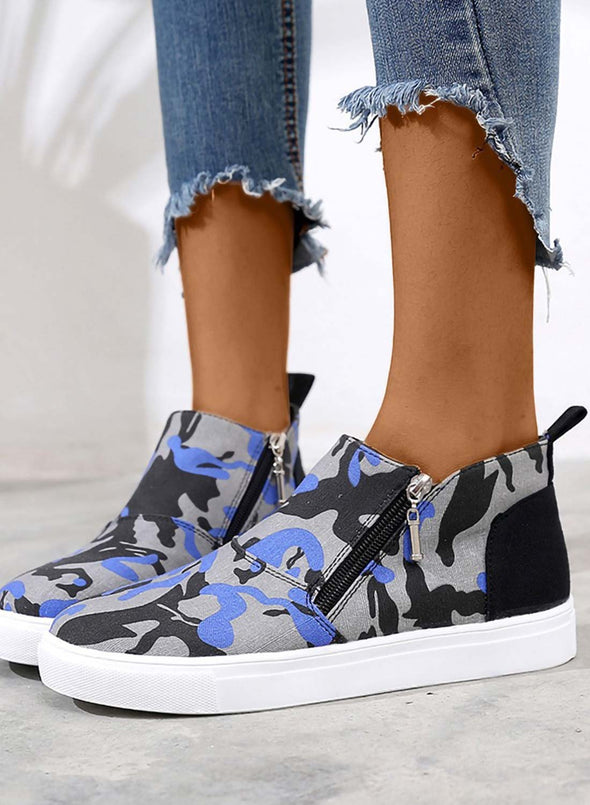 Blue Women's Shoes Canvas Camouflage Casual Zipper Shoes LC12843-5