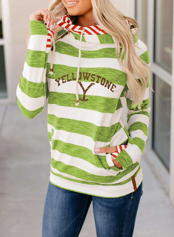 Green Women's Hoodies Striped Color-block Letter Long Sleeve Daily Pocket Hoodie LC2536345-9