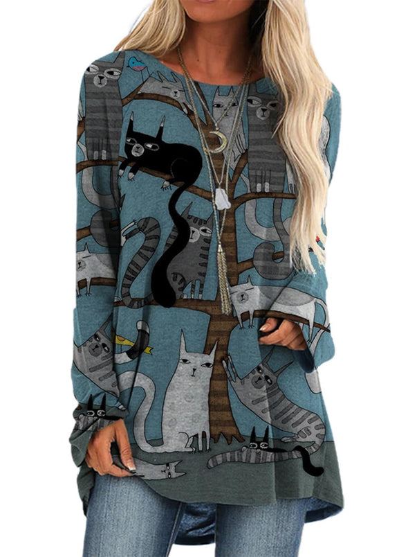 Blue Women's Pullovers Cat Long Sleeve Round Neck Casual Tunic Pullover LC2522716-5