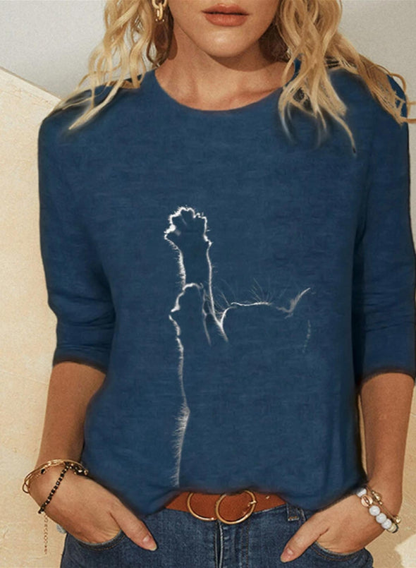 Blue Women's Sweatshirts Round Neck Long Sleeve Animal Print Daily Casual Sweatshirts LC2522713-5