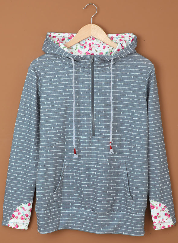 Gray Long Sleeve Floral Casual Hoodie LC2533325-11