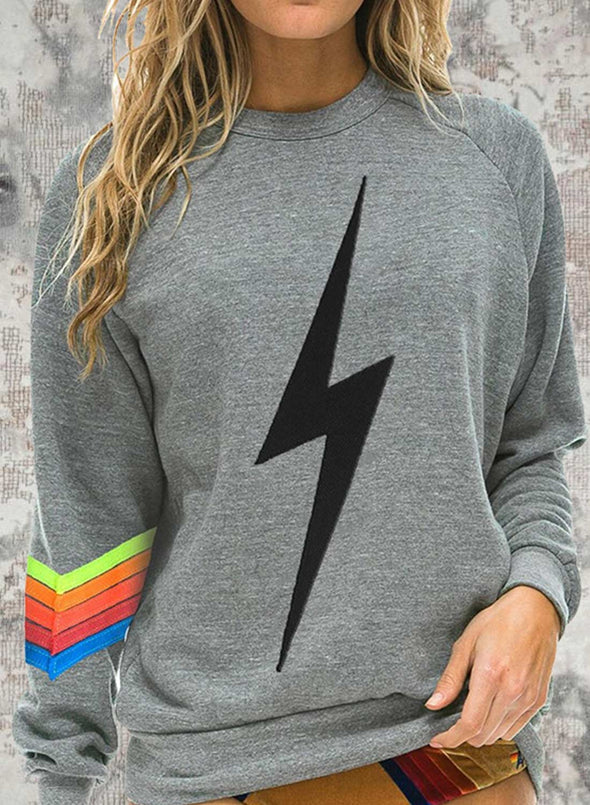 Gray Women's Sweatshirts Round Neck Long Sleeve Color Block Daily Lightning Casual Sweatshirts LC2536454-11
