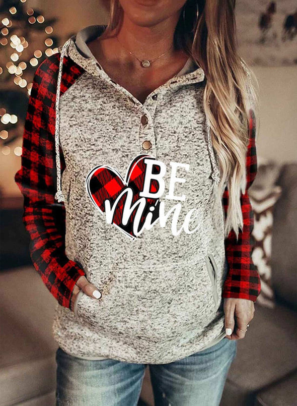 Women's Hoodies Drawstring Long Sleeve Color Block Plaid Letter Casual Hoodies With Pockets