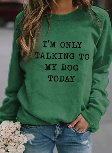 Green Women's Sweatshirts Round Neck Long Sleeve Solid Letter Casual Daily Sweatshirts LC2536497-9