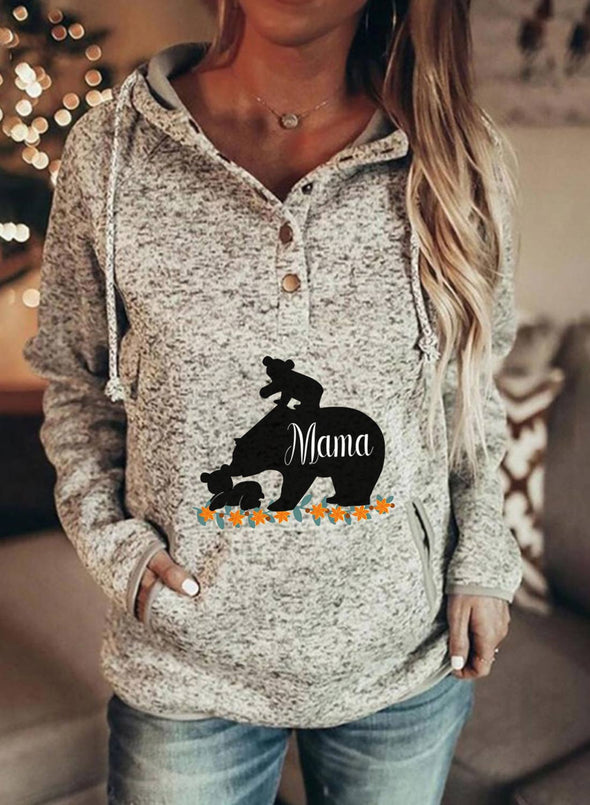 Gray Women's Hoodies Drawstring Button Long Sleeve Animal Print Solid Hoodies With Pockets LC2536530-11