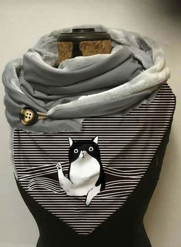 Gray Women's Scarves Classic Cat Print Striped Button Warm Scarf LC04251-11