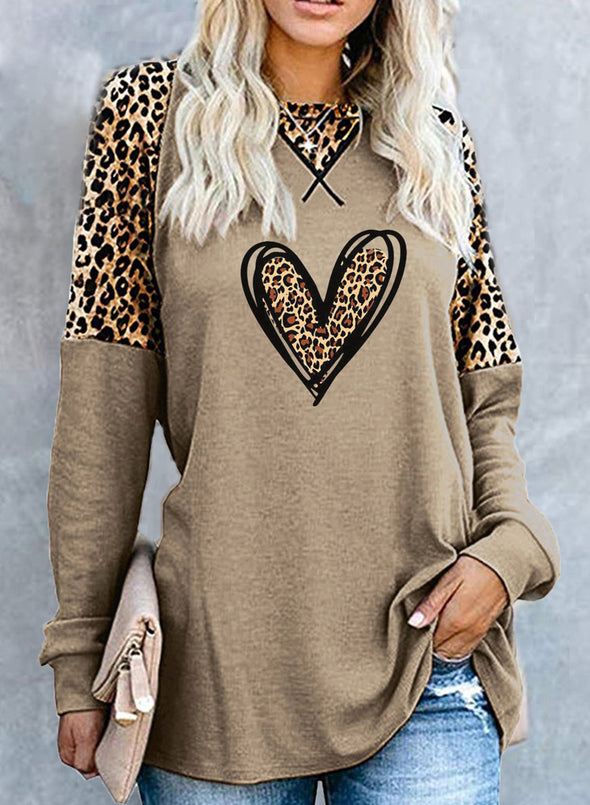 Khaki Women's Tunics Leopard Heart-shaped Long Sleeve Round Neck Daily Casual Tunic LC2515508-16