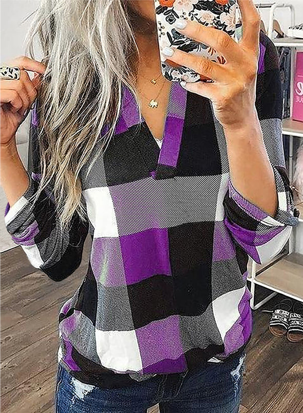 Purple Long Sleeve Plaid Print V-neck Tops LC2513970-8