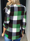 Green Long Sleeve Plaid Print V-neck Tops LC2513970-9