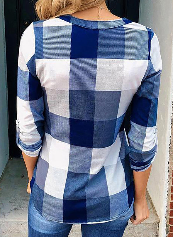 Blue Long Sleeve Plaid Print V-neck Tops LC2513970-5