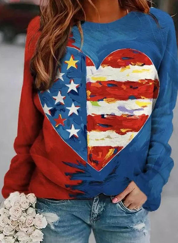 Blue Women's Sweatshirts Color Block Flag Print Long Sleeve Round Neck Casual Sweatshirt LC2515577-5