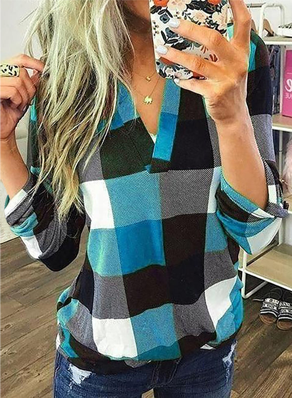 Sky Blue Long Sleeve Plaid Print V-neck Tops LC2513970-4