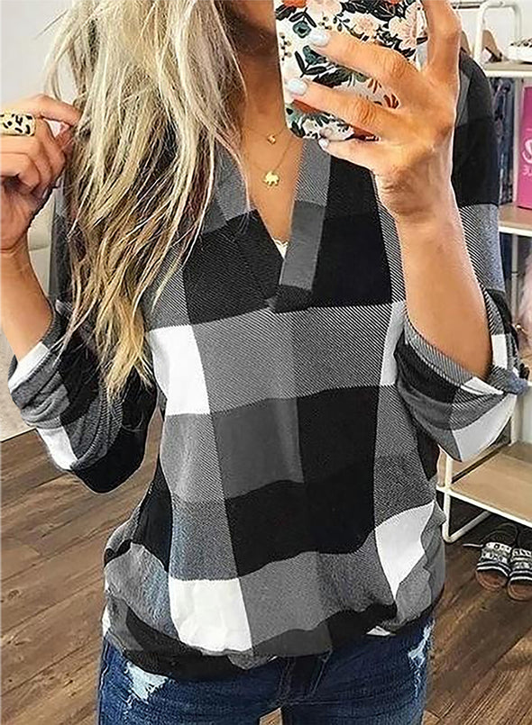 Gray Long Sleeve Plaid Print V-neck Tops LC2513970-11