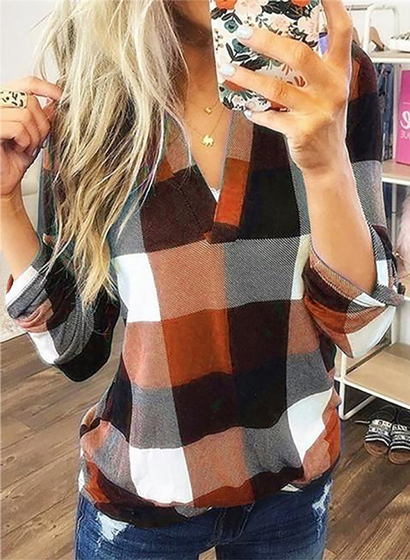 Orange Long Sleeve Plaid Print V-neck Tops LC2513970-14