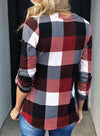 Red Long Sleeve Plaid Print V-neck Tops LC2513970-3