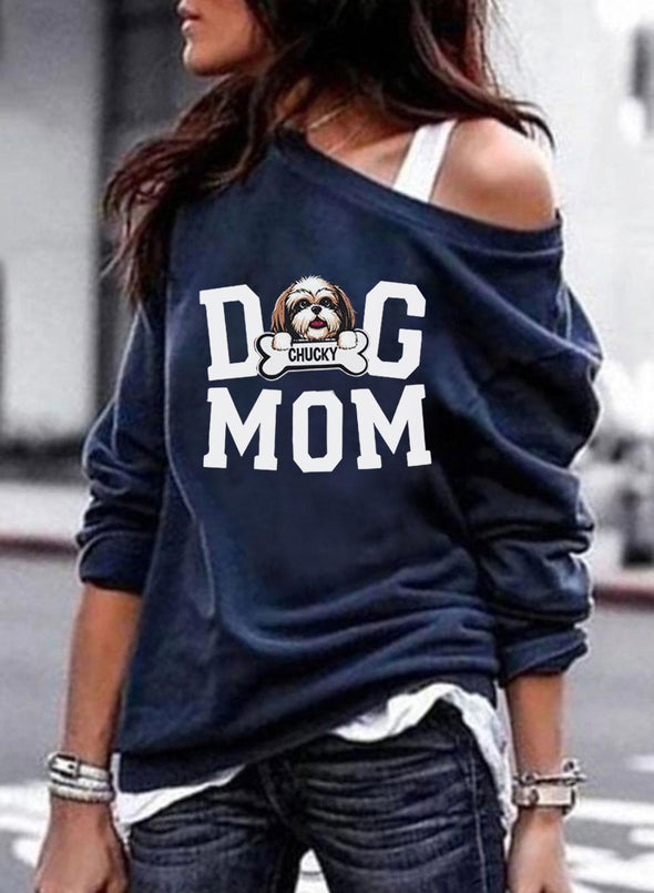 Sky Blue Women's Pullovers Dog Letter Long Sleeve Off Shoulder Casual Pullover LC2515558-4