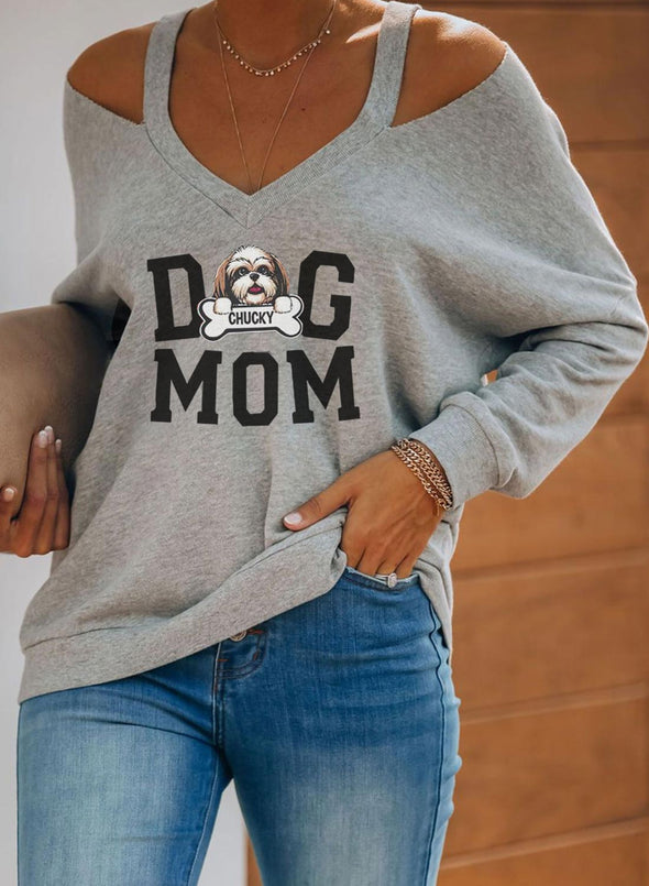 Gray Women's Pullovers Dog Letter Long Sleeve V Neck Daily Casual Cold-shoulder Pullover LC2515549-11