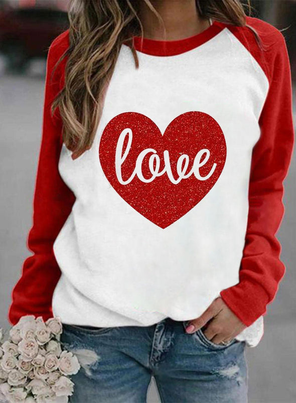 Red Women's Sweatshirts Round Neck Long Sleeve Love-shaped Color Block Daily Casual Sweatshirts LC2536733-3