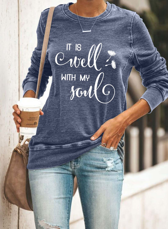 Blue Women's Sweatshirts Round Neck Long Sleeve Letter Solid Casual Daily Sweatshirts LC2536746-5