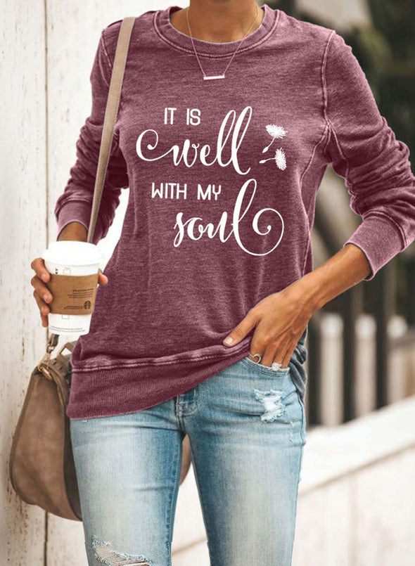 Red Women's Sweatshirts Round Neck Long Sleeve Letter Solid Casual Daily Sweatshirts LC2536746-3