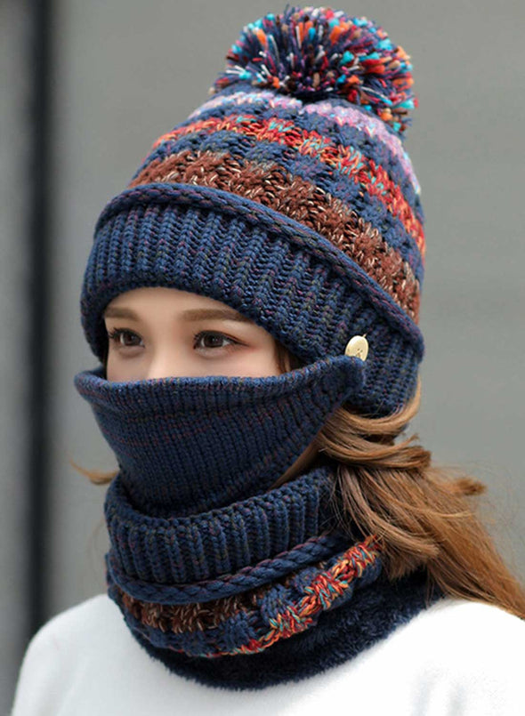 Blue Women's Hats Knitted Hat Scarf Mask Color Block Cotton Three-piece Set LC02341-5