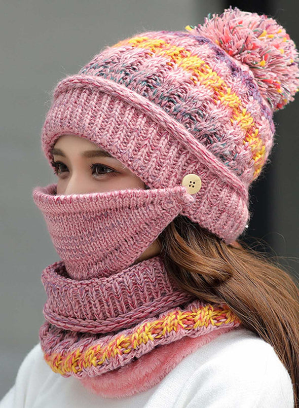 Pink Women's Hats Knitted Hat Scarf Mask Color Block Cotton Three-piece Set LC02341-10